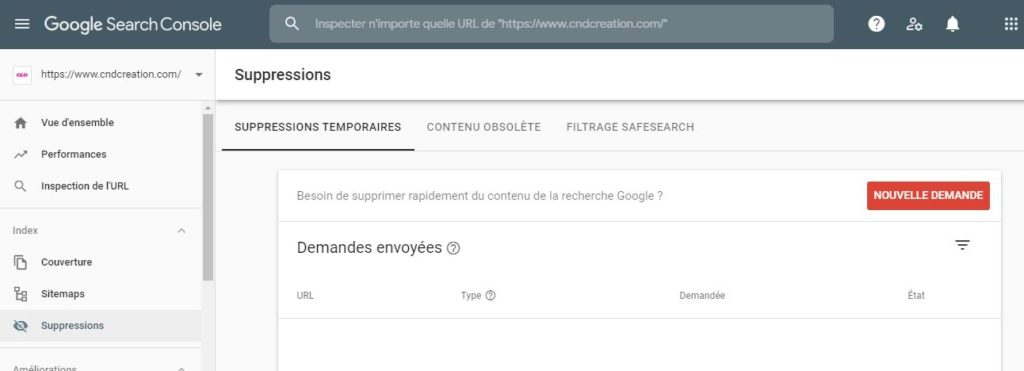 Outil Google de suppression de page